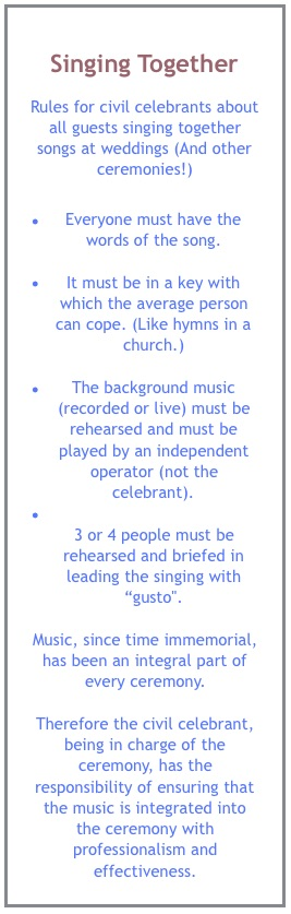 Rules for singing together at weddings